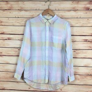GAP Pastel Plaid Boyfriend Button Up Shirt Rainbow
